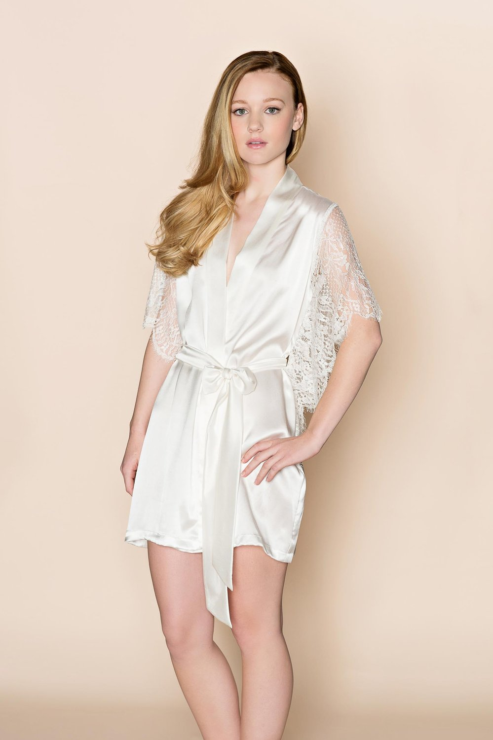 Grace winged Silk & Lace Bridal Kimono Robe in Ivory- Style 150