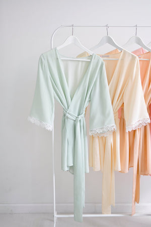 VAL BRIDESMAIDS ROBES KIMONOS SILK & LACE IN SPRING PASTEL COLORS