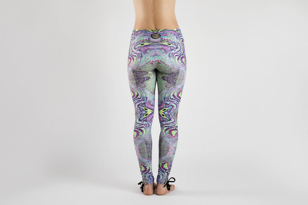 Back view of Fractal Acid Yoga Leggings from Kaa Yoga