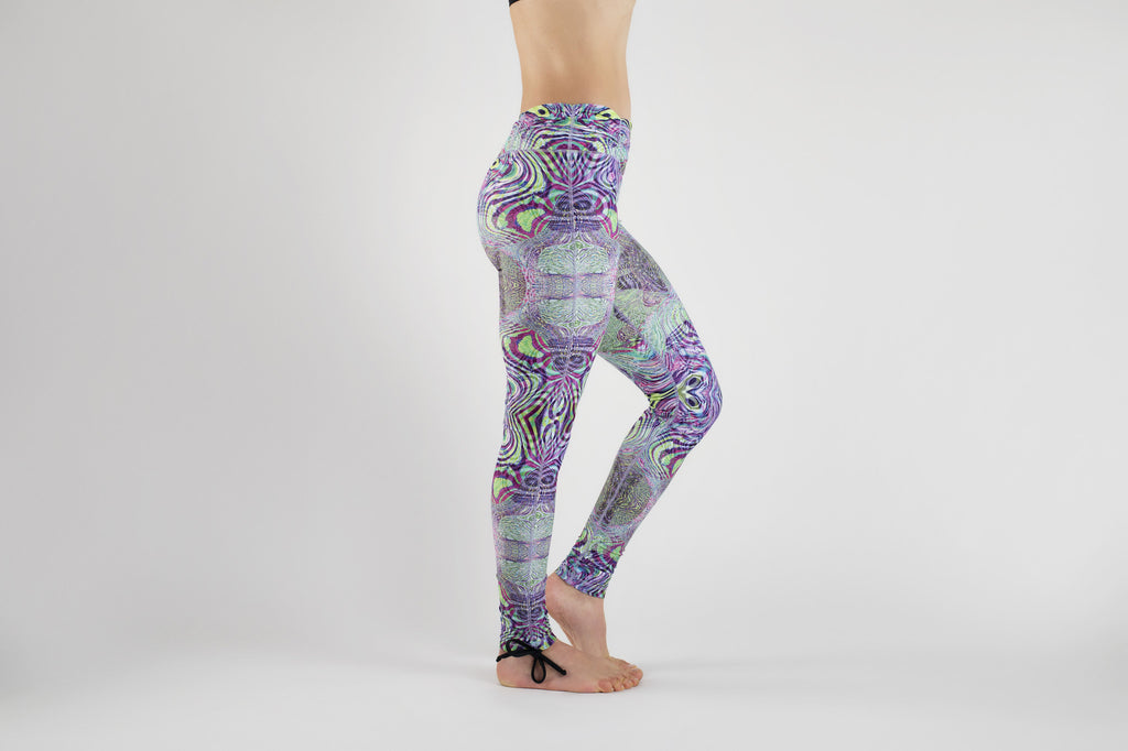 Side view of Fractal Acid Yoga Leggings from Kaa Yoga