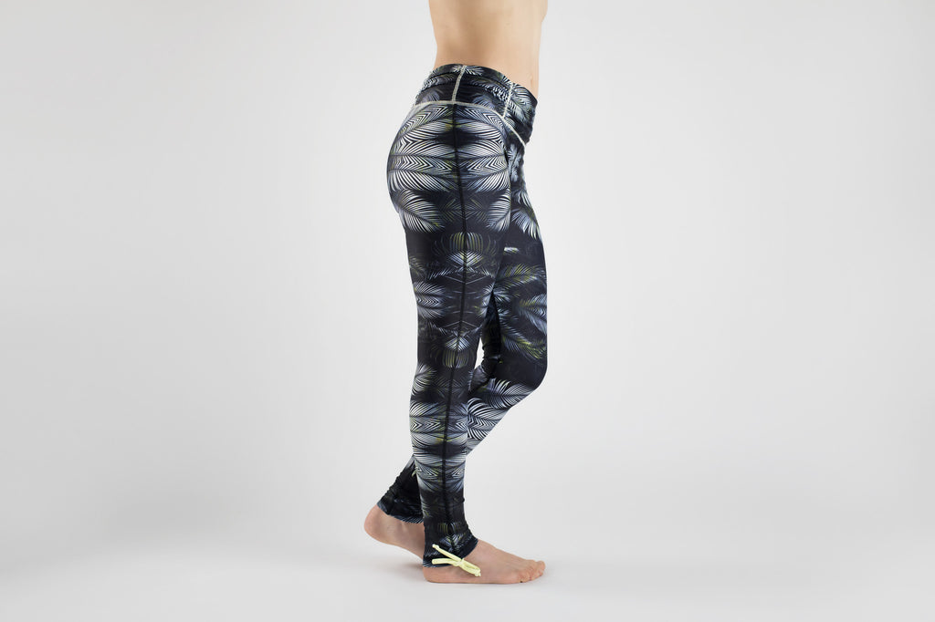 Side view of Tribal Forest Yoga Leggings from Kaa Yoga