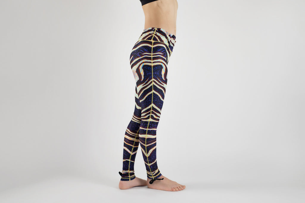 Side view of Tiger Warp Yoga Leggings from Kaa Yoga