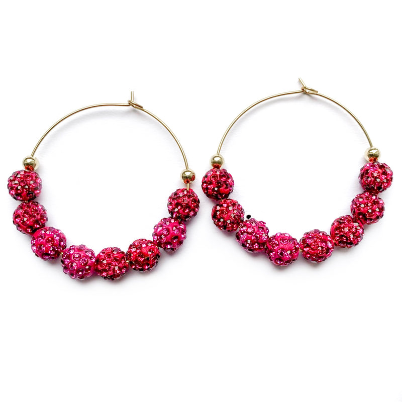 Burnin For You - Rhinestone Beaded Hoops