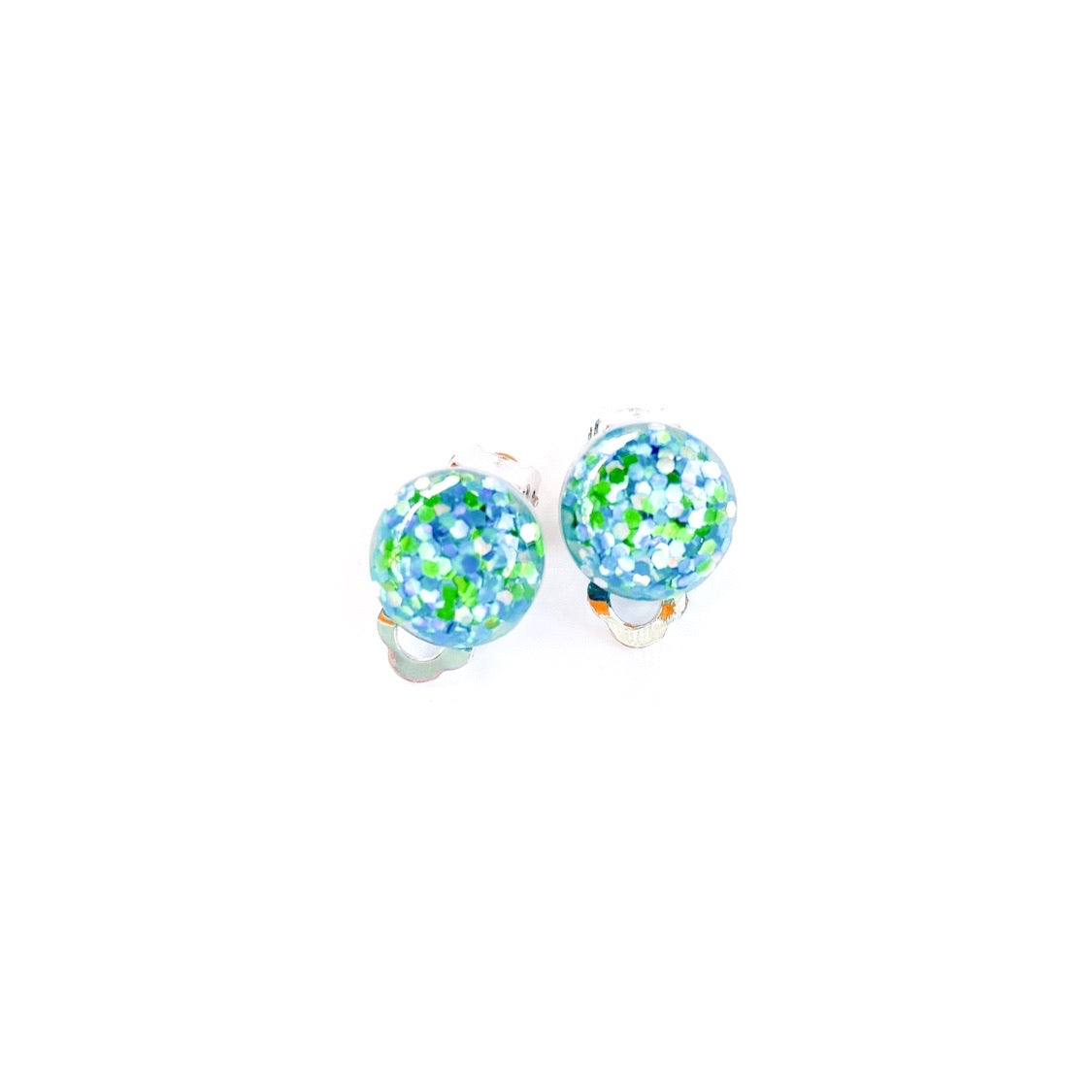 Sea Glitter - 12mm Dome Silver CLIP ONS