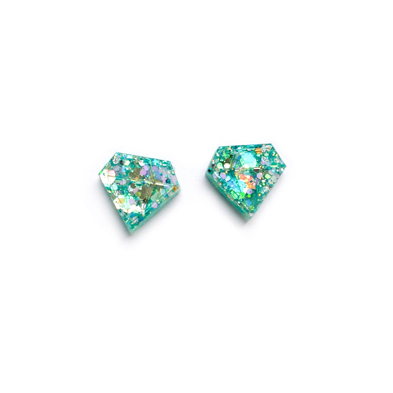 Teal Glitter Diamond - Shaped Studs