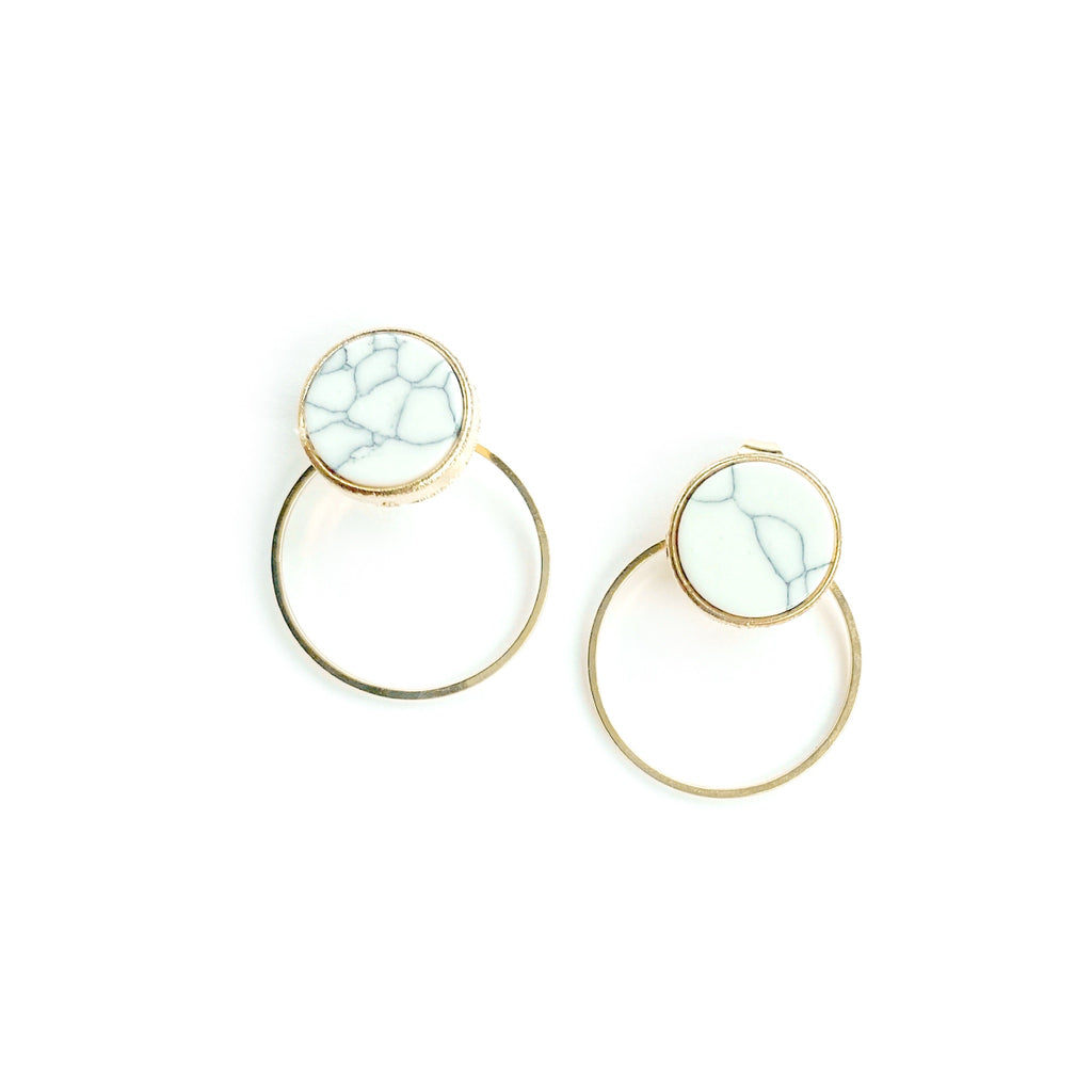 Marbled Gold - Circle Drop Studs