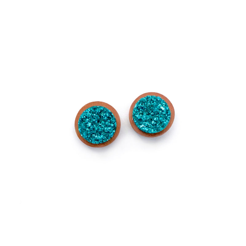 Teal - 12mm Wood Druzy Studs