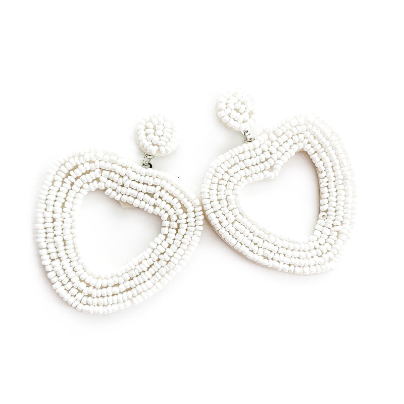 Ivory - Beaded Heart Dangles