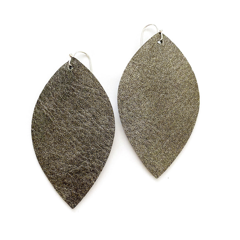 Pewter Textured - Slim Leaf Drops