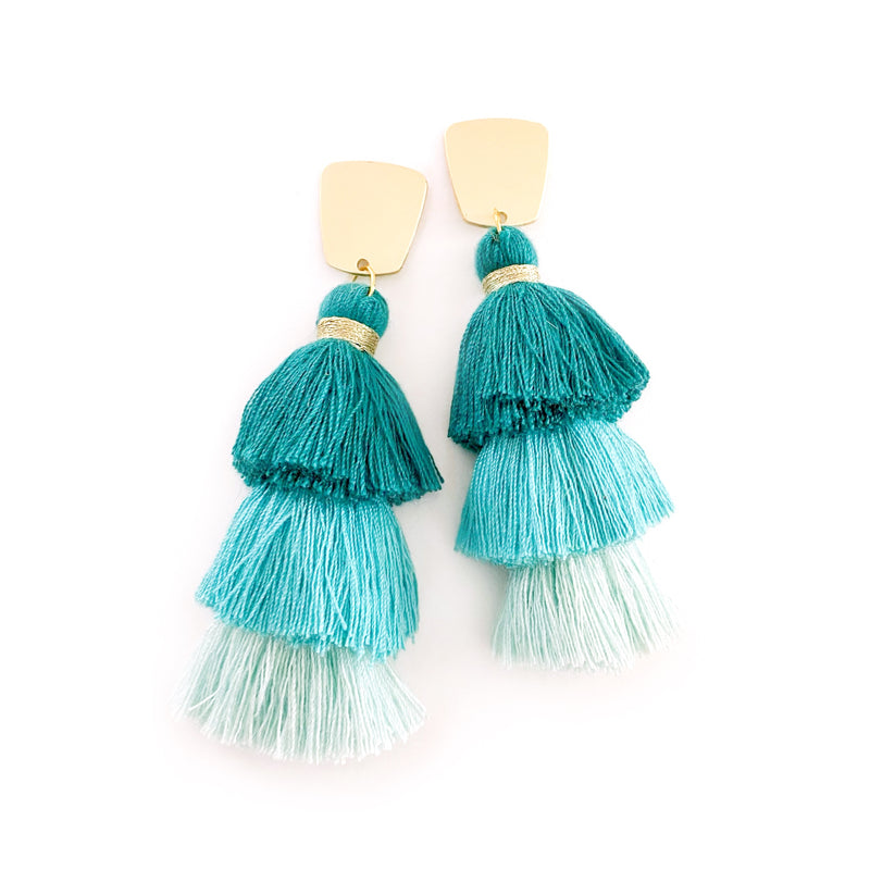 Teal & Mint - Gold Stud Tassel Dangles