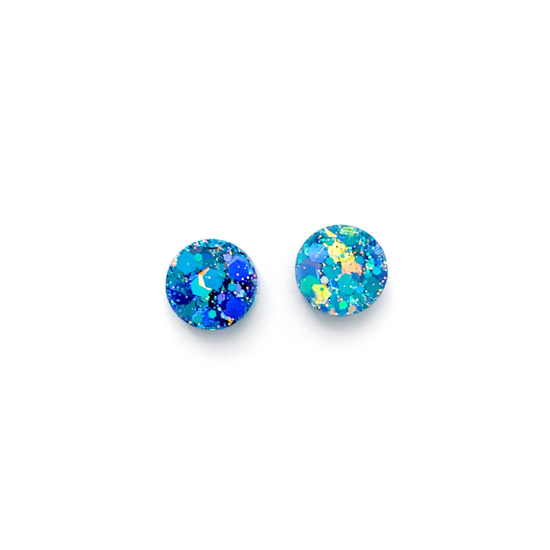 Aquamarine Glitter - Shaped Studs