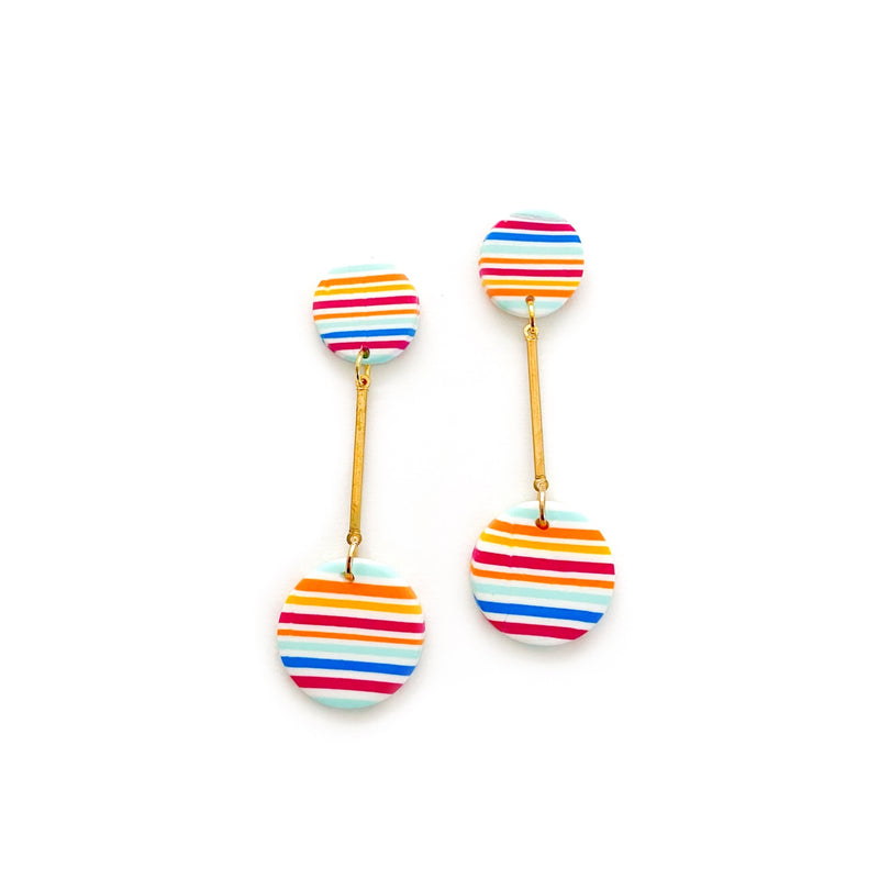 Rainbow Pin Stripe - Gold Bar Stud Dangles