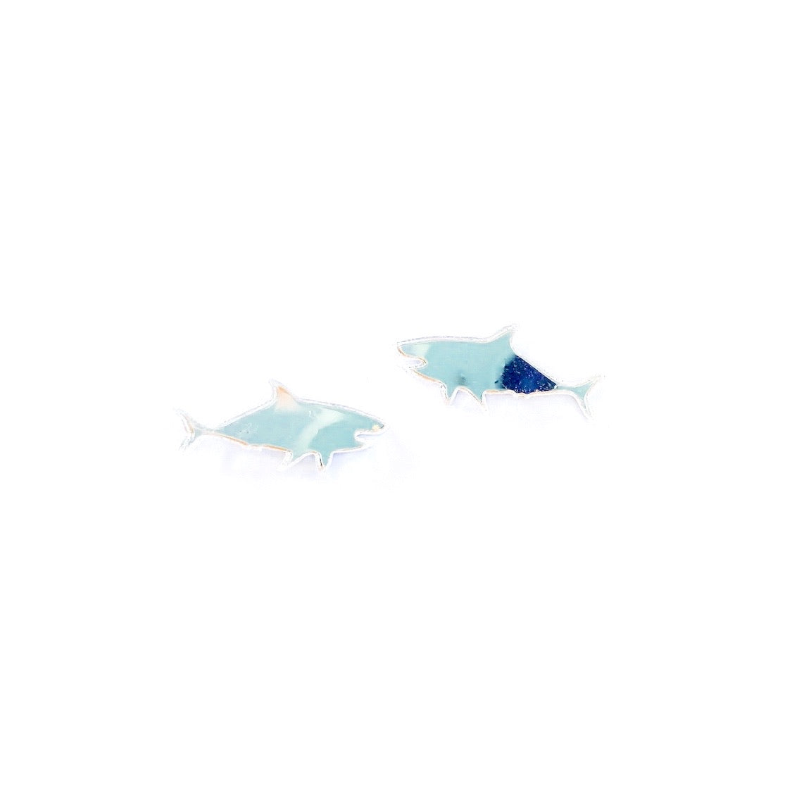 Silver Mirror Sharks - 13mm Shaped Studs