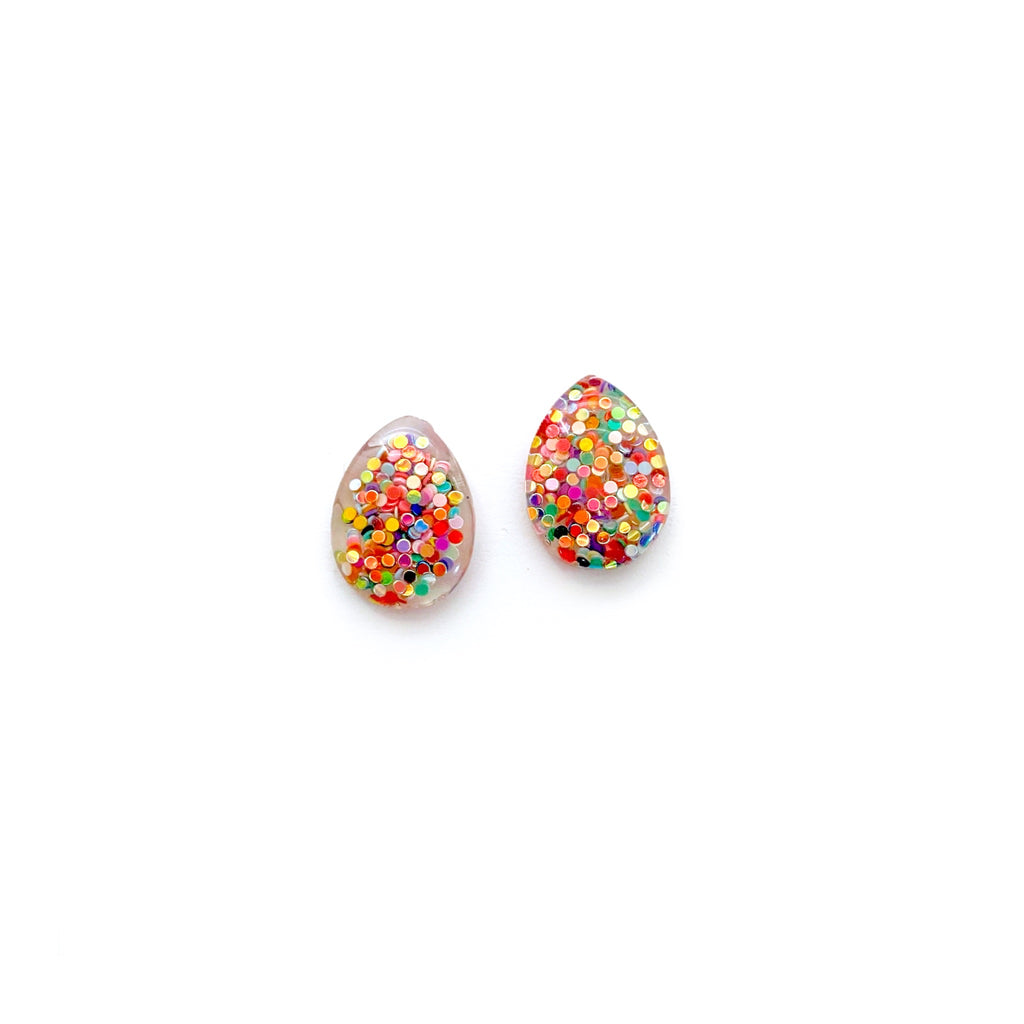 End of the Rainbow Glitter - Teardrop Studs