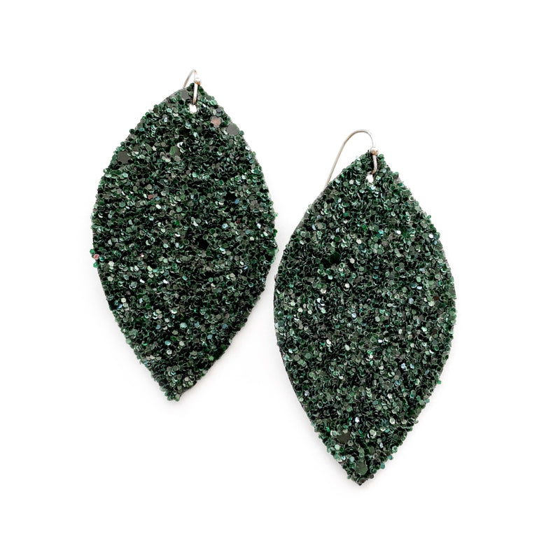 Evergreen Glass Glitter - Slim Leaf Drops
