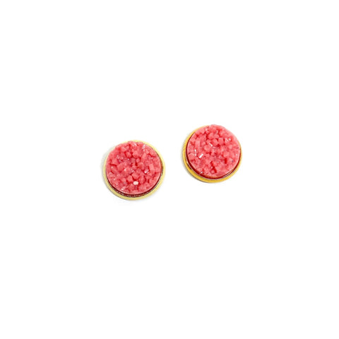 Grapefruit in Gold - 12mm Faux Druzy Studs