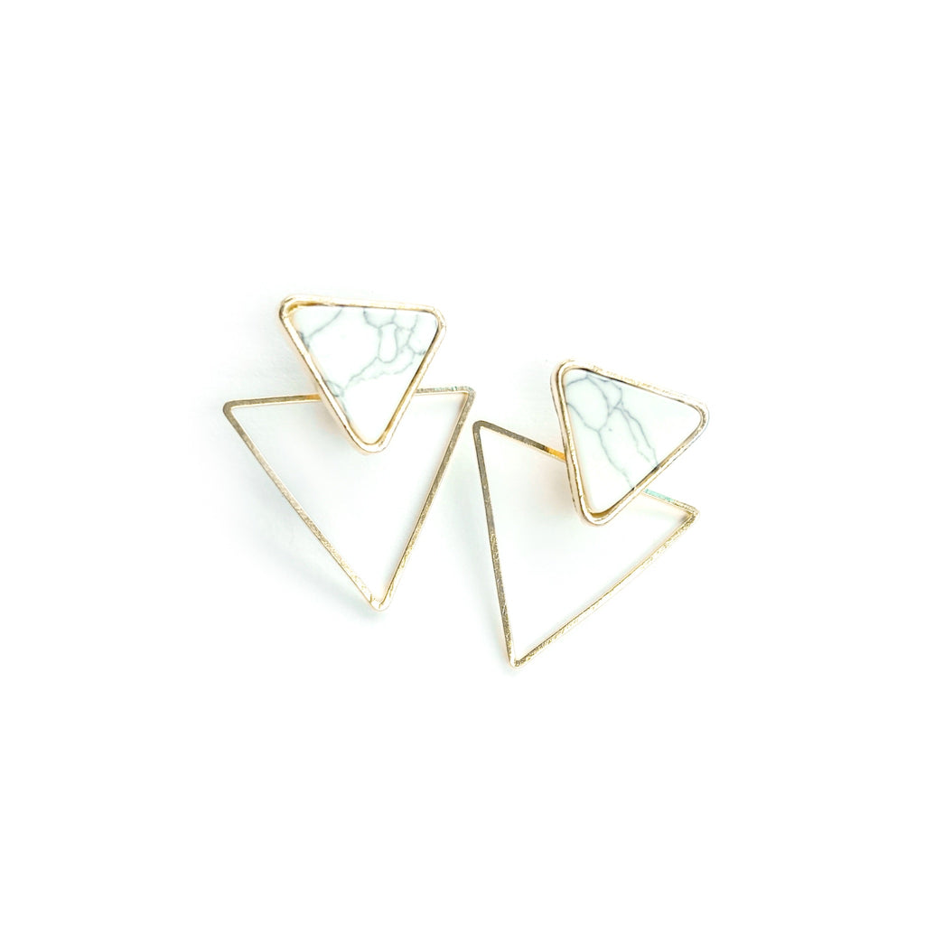 Marbled Gold - Triangle Drop Studs