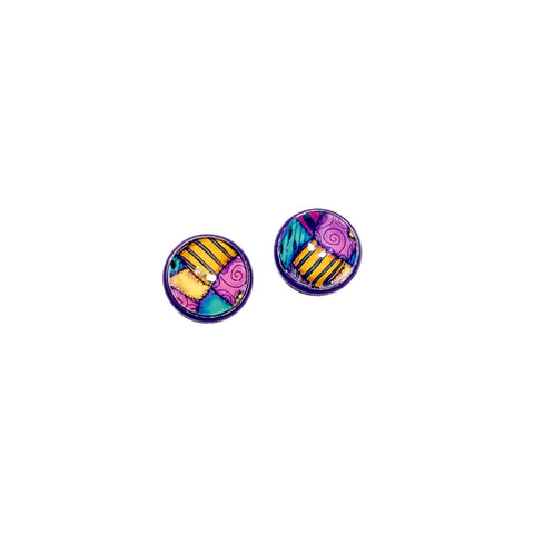Sally Patchwork - 12mm Dome Studs in Purple