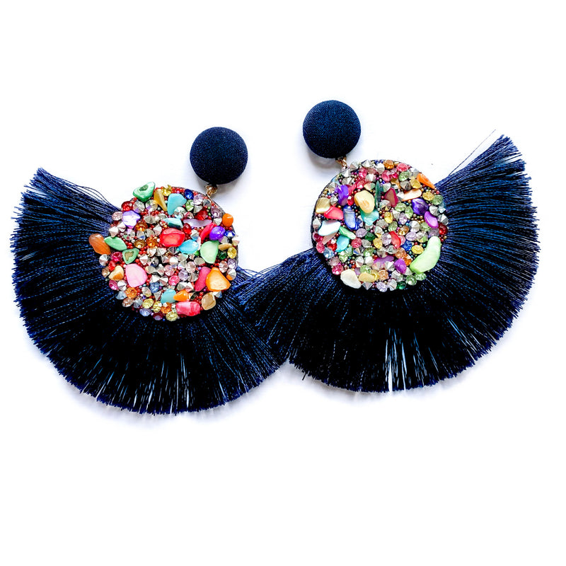 Jazzagals - Navy Jeweled Fringe Dangles