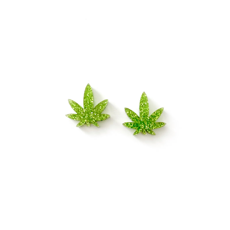 Lime Glitter Mary Jane - Shaped Studs