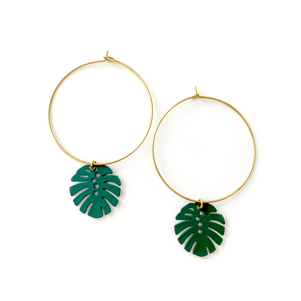 Monstera - Charm Hoops