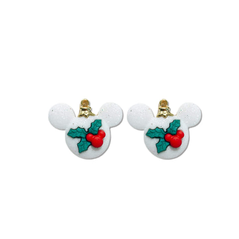 Holly Mouse Ears Ornament - 22mm Glitter Studs