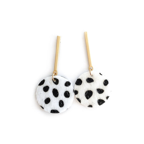 White Spotted - Gold Bar Stud Dangles