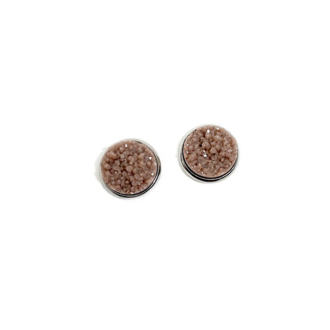 Taupe in Silver - 12mm Faux Druzy Studs