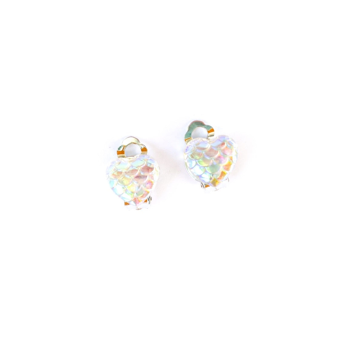 Opal Mermaid Hearts - Shaped Silver CLIP ONS