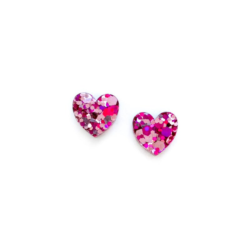 Valentine Glitter Hearts - Shaped Studs
