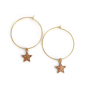 Copper Star - Charm Hoops