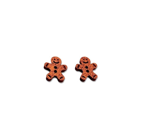 Glitter Gingerbread - 15mm Shaped Studs