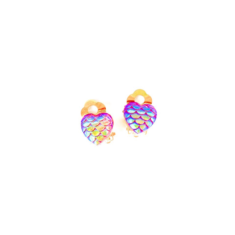 Fuchsia Mermaid Hearts - Shaped Gold CLIP ONS