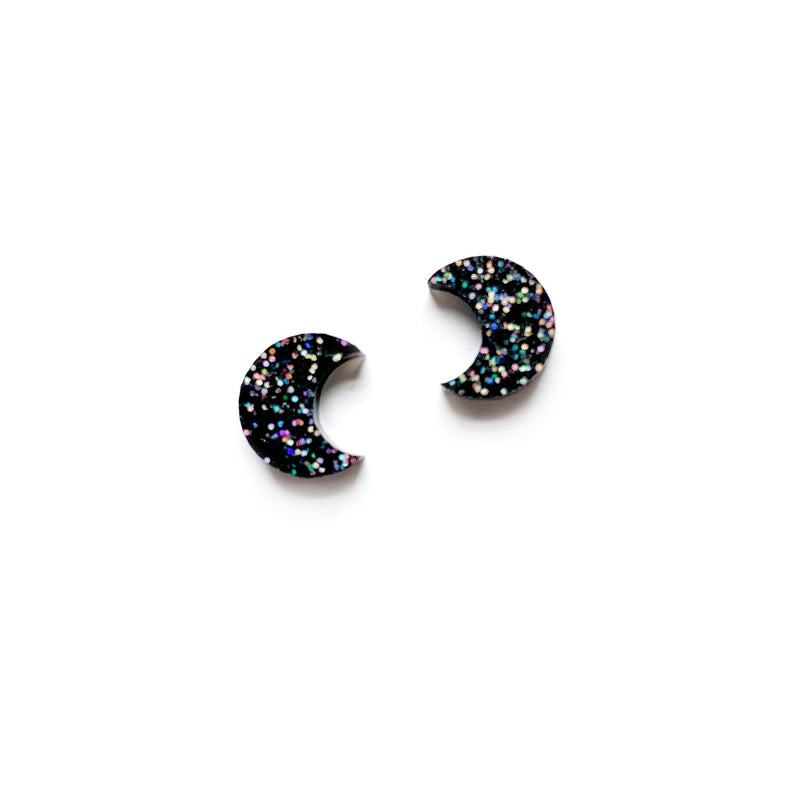 Stevie Glitter Half Moon - Shaped Studs