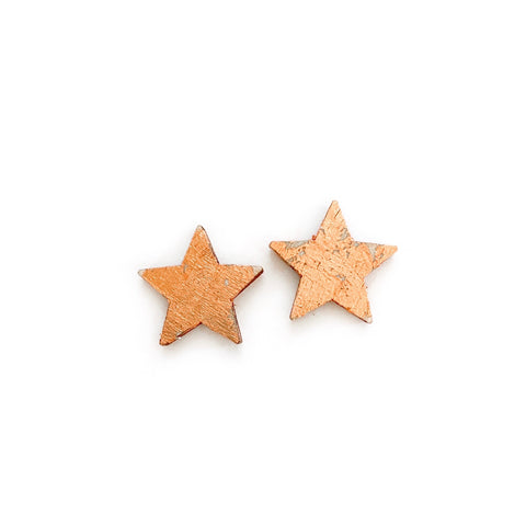 Warm Wood Rose Gold Gilded Stars - 17mm Studs