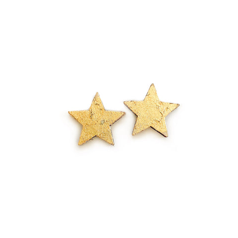 Warm Wood Gold Gilded Stars - 17mm Studs