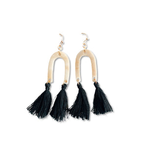 Gold Rainbow Black - Tassel Drops