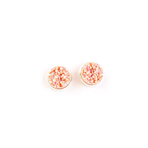 Blush in Silver - 12mm Faux Druzy Studs