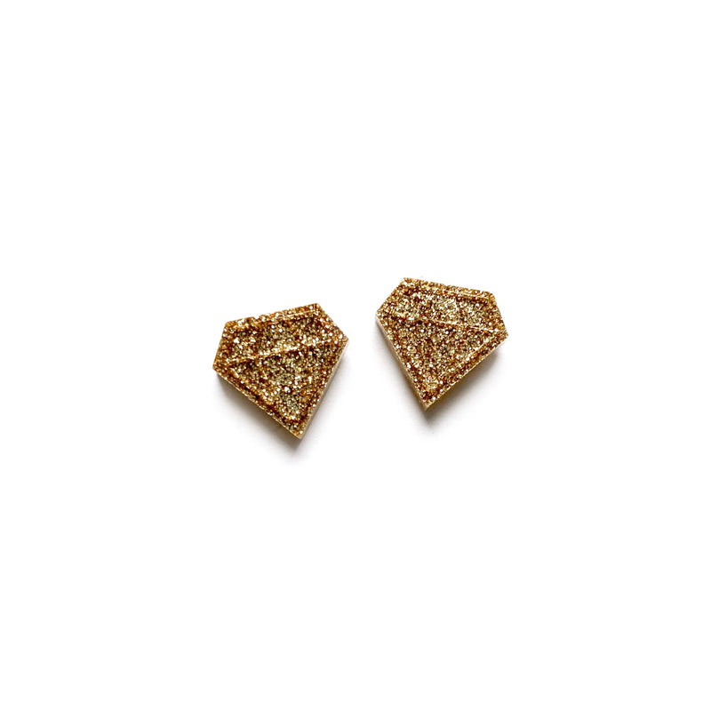 Antique Gold Glitter Diamond - Shaped Studs
