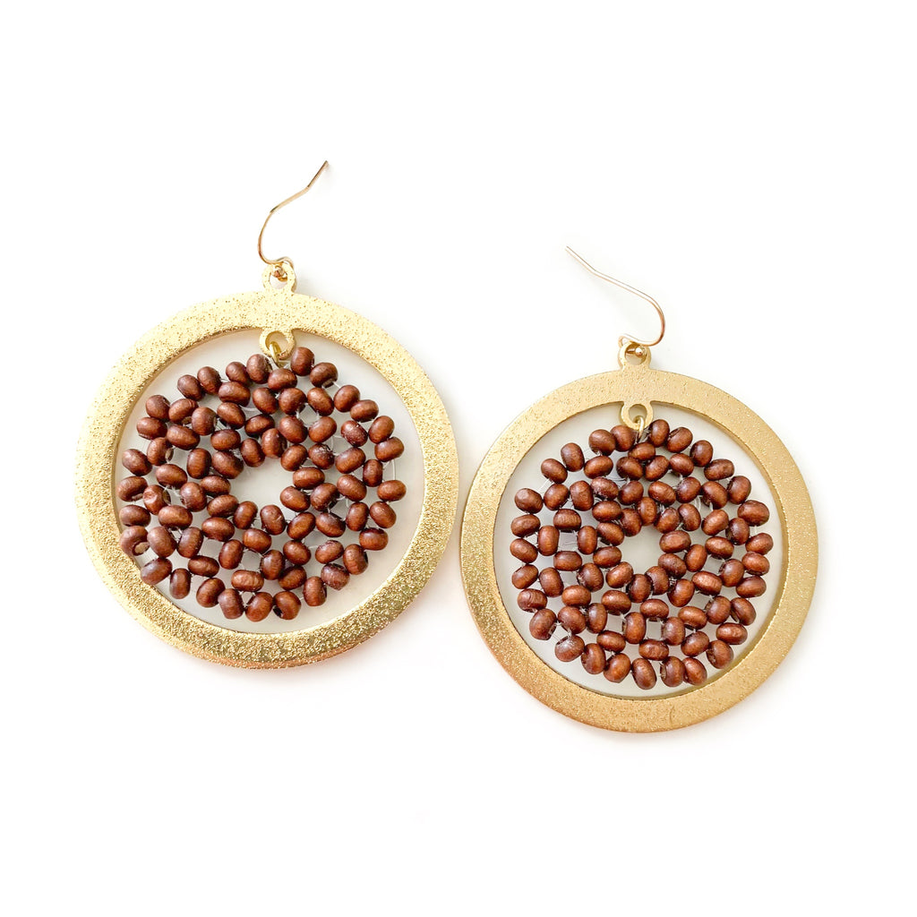 Wood & Gold Beaded - Dangles