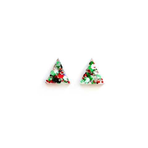 Christmas Glitter Triangles - 15mm Shaped Studs