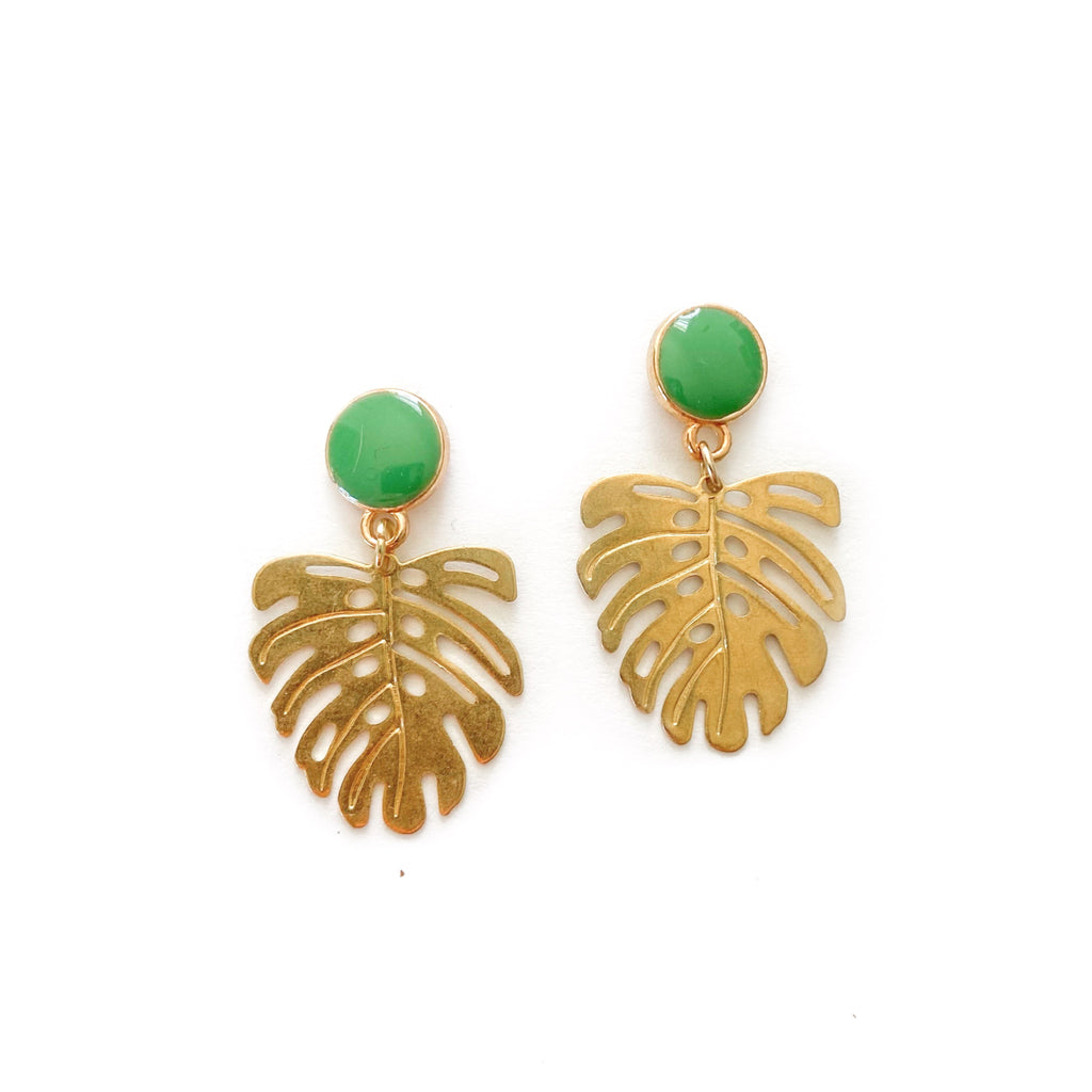 Gold Monstera Leaf - Dangles