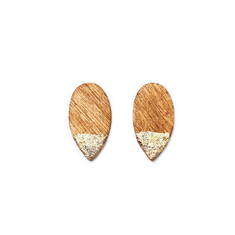 Gold Gilded Warm Wood - Dainty Spike Studs