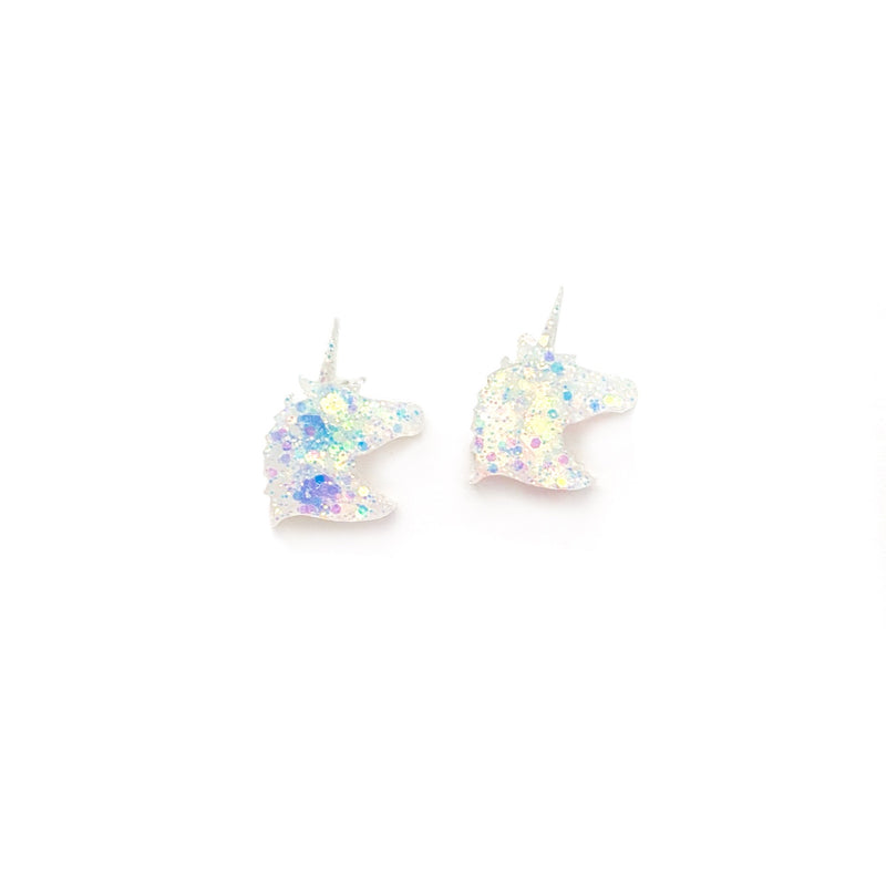 Ice Glitter Unicorn - Shaped Studs