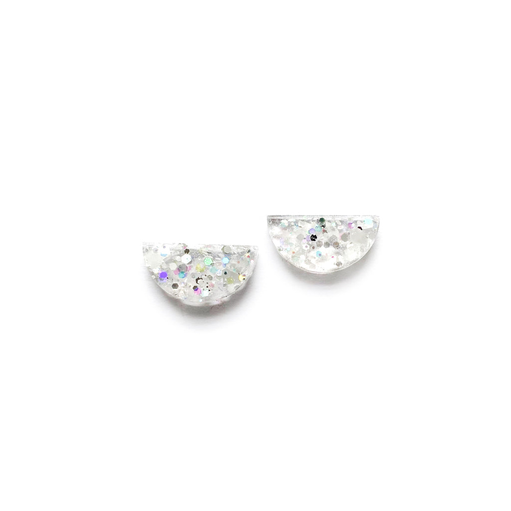 Clarity Glitter Arc - Shaped Studs