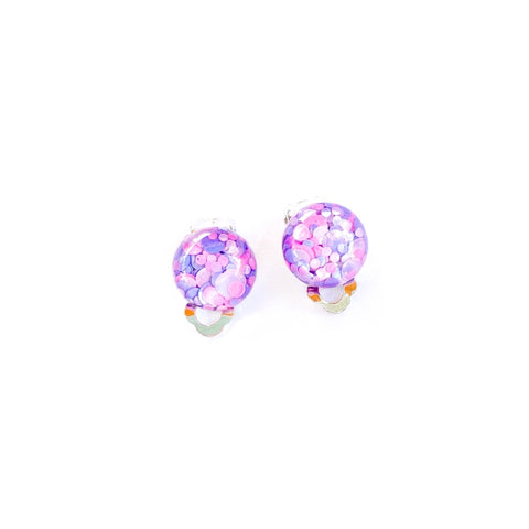 Mermaid Kisses Glitter - 12mm Dome Silver CLIP ONS