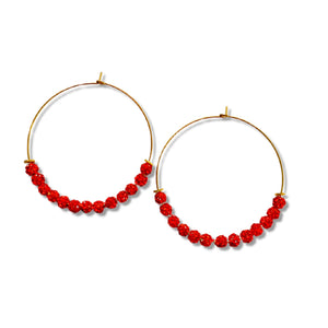 Ruby Red Glitter - Beaded Hoops