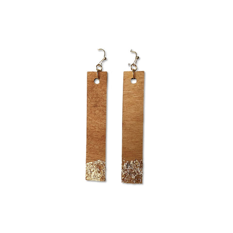 Warm Wood Gold Gilded - Stick Dangles