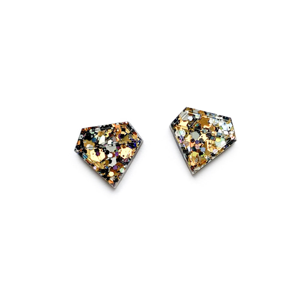 Sparks Are Flyin Glitter Diamond - Shaped Studs