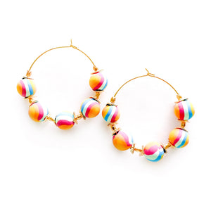 Retro Rainbow Stripe - Beaded Hoops